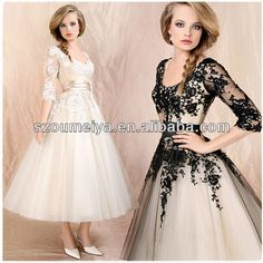 Plus Size Black And White Tea Length Boat Neck Lace Puffy Sexy Short Wedding Dress 2013 With Sleeves
