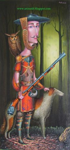 "Artist Zurab Martiashvili, ""The Hunter"" 2014 - musket, gun, owl and dog"