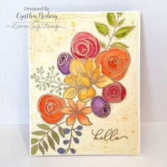 Simon Says Stamp Card Kit Reveal and Inspiration: Sketched Flowers Flower Stamp, Flower Cards, Simon Says Stamp Blog, Flower Sketches, Art Case, Embossed Cards, Watercolor Cards, Copics, Card Kit