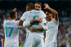 Karim Benzema of Real Madrid CF celebrates scoring their second goal. Fc Barcelona, Equipe Real Madrid, Scores, Spain, Goals, Celebrities, Image, Sergio Ramos, Santiago
