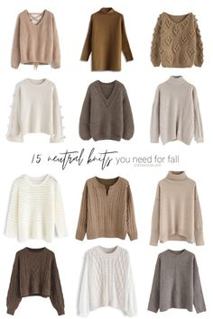 15 Neutral Knits You Need for Fall - Winter Outfits Kpop Fashion Outfits, Winter Fashion Outfits, Mode Outfits, Look Fashion, Hijab Fashion, Fall Fashion, Muslim Fashion, Fall Outfits For Work, Casual Fall Outfits
