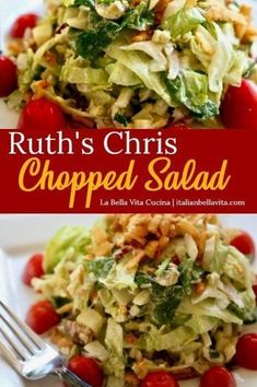 Ruth s Chris FAMOUS Chopped Salad Recipe copycat that is the exactly the DELICIOUS RECIPE you are searching for Find it on La Bella Vita Cucina salad ruthchrischoppedsalad copycatrecipe ruthchrissteakhouse choppedsaladrecipe choppedsalad # Chopped Salad Recipes, Best Salad Recipes, Salad Recipes For Dinner, Salad Dressing Recipes, Healthy Recipes, Ruth's Chris Chopped Salad Recipe, Salad Dressings, Italian Chopped Salad, Italian Salad Recipes