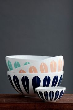 """Arne Clausen's distinctive """"lotus"""" pattern was first used on the Norwegian Cathrineholm enamelware and now decorates these Danish Lyngby Porcelain company products"""