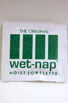 Moist towelettes. DON'T BUY THESE.  Go get wings and stuff these in your pockets.
