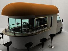 Mobile Coffee Shop designed by Daniel Milchtein. The whole coffee shop is fitted inside the truck. The bar stools can be taken out anywhere you want to set up your coffee shop. Forget the features; this mobile coffee shop is all about the neat and invitin Mobile Coffee Shop, Coffee Trailer, Coffee Truck, Funny Coffee, Coffee Shop Design, Easy Listening, Hot Coffee, Decaf Coffee, Easy Coffee