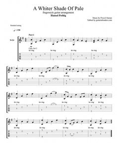 A Whiter Shade Of Pale fingerstyle TAB - fingerstyle guitar cover by Hansel Pethig - Guitar Pro TAB Guitar Tabs Acoustic, Guitar Chords And Lyrics, Music Theory Guitar, Guitar Tabs Songs, Learn Guitar Chords, Guitar Chords Beginner, Easy Guitar Songs, Guitar Chord Chart, Guitar Sheet Music