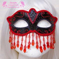Venetian Masquerade Mask 'Red Queen' Black & Red by Cherryfox, £33.50
