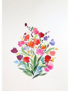 10 x 14 Bouquet misto Flora acquerello pittura di YaoChengDesign