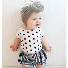 Baby Girl Dots & Stripes 2pcs Set  - 1
