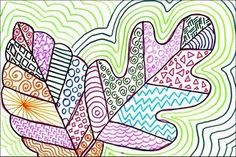Line Art Leaves, fall zentangle, crafts for kids