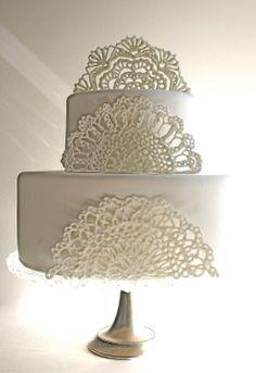#Sugar #Edible #Lace #Doilies #CakeTopper / #Embellishments / #Decorations - 3 piece set $90.00 by #andiespecialtysweets - #cakes #bridal #wedding #reception #ItsANiceDayForAWhiteWedding #inspiration