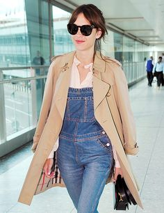 Alexa Chung Wears Dungarees & a Trench on London Trip | The Front Row View