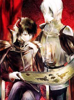 Satan Jacob (Sadao) and Alciel (Shiro) - The Devil Is a Part-Timer! Devil Part Timer, Hataraku Maou Sama, Animes On, Hot Anime Guys, Anime Boys, Bishounen, Fan Art, Blue Exorcist, Shounen Ai