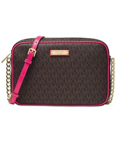 67bba595109d79 Michael Kors Women's Jet Set Large Crossbody Bag Brown MK body with Ultra  Pink trim Top