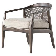 Mid-century modern with a dash of French provincial style, this rattan and birch wood armchair makes a lovely accent in a contemporary home. The finely crafted wood frame catches the eye, setting off the woven rattan and plush beige cushion in gorgeous fashion. lounge chair seating