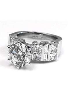 Large Diamond Engagement Ring Princess & Baguette Band