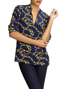 everyday chain print silk shirt : Amanda Uprichard via piperlime.com