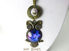 Sautoir Hibou, Collier Chouette Bronze, Bleu Nuit, Bijoux Zen Boutik, Romantique : Collier par zenboutik