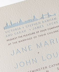London Skyline Letterpress Wedding Invitation