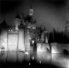 A view of a Disney castle as only Diane Arbus could see it.