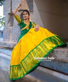 Kadhambari Studio. <br>  F# 01 Sahara Estates Mansoorabad Hyderabad. <br> Contact : 088018 76477. <br> Email :  kadhambaristudiohyd@gmail.com Kids Blouse Designs, Kurta Designs Women, Bridal Blouse Designs, Saree Blouse Designs, Half Saree Lehenga, Green Lehenga, Saree Dress, Bridal Lehenga, Saree Wearing Styles