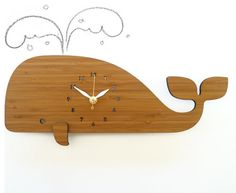 Modern Whale Bamboo Wall Clock by Decoylab. This is perfect for an underwater-themed room or a neutral space ready for some personality. more »  $68.00 | Etsy