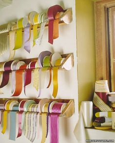 Ribbon storage - Martha Stewart Gutters with end caps.