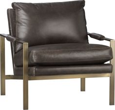 Milo Classic Leather Brass Lounge Chair  | Crate and Barrel