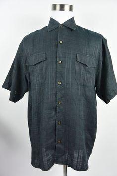 Tommy Bahama L Large Black 100% Linen Plaid Hawaiian Casual Shirt Mens #824 #TommyBahama #Hawaiian