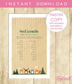 Woodland Baby Shower Word Scramble Game - Printable Instant Download - Woodland Word Scramble Girl Baby Shower by TppCardS #tppcards