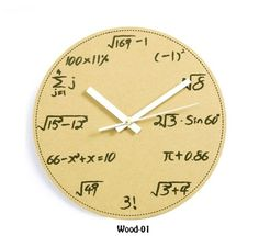 "Math and Science Pop Quiz Wall Clock  11.5"" diameter wall clock  Requires 1 AA battery, not included  Quartz movement with sweep second-hand  Black ""chalkboard"" texture with painted numbers    Pop Quiz, hotshot. Think back to a time when you were a young geek. Sure, you were brilliant at math, bu..."