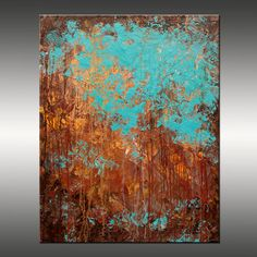 Original Abstract Modern Painting - Title, Recollection - 24x30 Inches - Turquoise, Gold, Brown, Copper