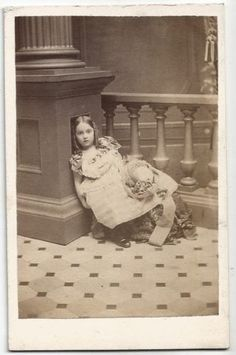 Little-Girl-Leaning-on-Pillar-Fine-Dress-Hat-Ringlets-ID-Florence-Thomas-NY-1860 Dress Hats, Worlds Largest, Florence, Little Girls, The Originals, Children, Painting, Image, Collection