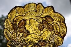 Amber Autumn Berry Bowl with raised motif of leaves by theartlyons