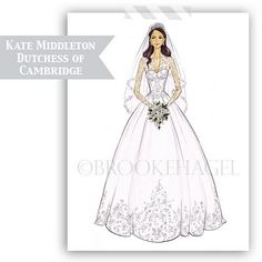 Its a year later and I'm still Kate Middleton obsessed. Her bridal sketch remains one of my favorite bridal fashion illustrations.