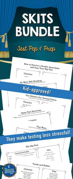 These 8 testing encouragement skits have all been performed at testing pep rallies and school assemblies for student motivation. They'll lighten the mood and remind students of important testing strategies before state testing. Plus, kids LOVE them!