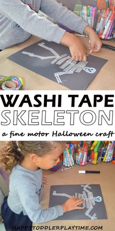 Washi Tape Skeleton - HAPPY TODDLER PLAYTIME Washi Tape Skeleton craft is a fun Halloween activity that is great for toddlers and big kids! Create a skeleton using washi tape! Motor Skills Activities, Infant Activities, Learning Activities, Activities For Kids, Monster Activities, Emotions Activities, Creative Activities, Holiday Activities, Fun Halloween Games