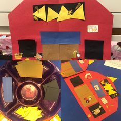Make a shape barn for farm theme with squares, rectangles, and triangles
