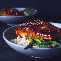 Maple Glazed Teriyaki Salmon With Garlic Sautéed Asparagus