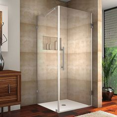 """36"""" square shower surround for master bathroom shower... only need glass on the front though... so this probably won't work."""