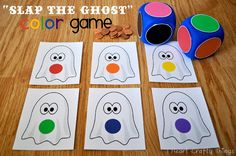"""Slap the Ghost"" Halloween Color Game (from I Heart Crafty Things)"