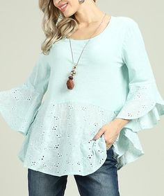 Look what I found on #zulily! Light Dusty Aqua Eyelet Bell-Sleeve Tunic - Plus Too #zulilyfinds