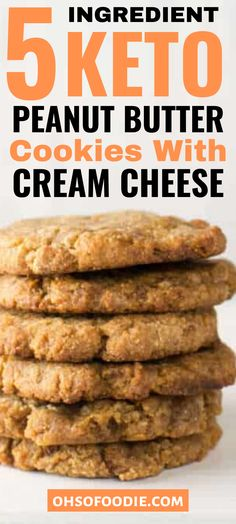5 Ingredient Keto Peanut Butter Cream Cheese Cookies - Oh So Foodie Keto Peanut Butter Cookies, Butter Chocolate Chip Cookies, Peanut Butter Oatmeal, Peanut Butter Recipes, Keto Cookies, Low Carb Peanutbutter Cookies, Cookies Soft, Meringue Cookies, Cream Cheese Desserts