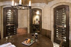 Different types of wines are kept behind different doors with specific temperature and humidity control.