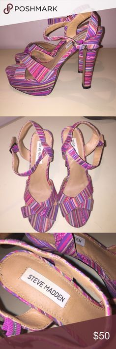 Steve Madden patterned platform heels size 8.5 Steve Madden heeled sandals. Great retro striped pattern! Only gently used. Size 8.5 women's Steve Madden Shoes Heels