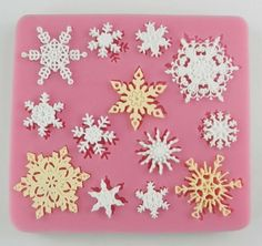 Snowflakes silicone mold for fimo resin polymer clay fondant cake chocolate