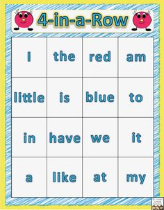 4-in-a-Row Sight Word Game This is a fun and FREE way to help young learners become fluent with reading beginning sight words.