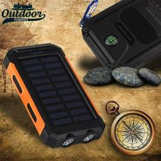 This incredible waterproof solar charger Power Bank is an absolute necessity for people who are on the go, especially when it comes to saving electricity. This solar power bank is extremely durable and has many different features. Includes:  10000 mAh Battery Capacity - Will last a long time! Easy to pack and carry Includes a built-in LED Flashlight 2 USB ports - Charging multiple devices ALL powered by the sun!