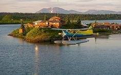 Wyspa, Jezioro, Domki, Samolot