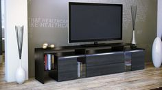 The Modena Media Unit is an ultra modern solution for your TV and media storage The main frame of the unit is manufactured from High Density Particle